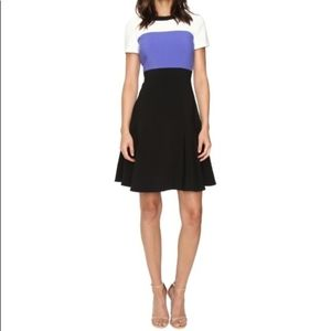 KATE SPADE COLOR BLOCK CREPE  FIT & FLARE DRESS 14